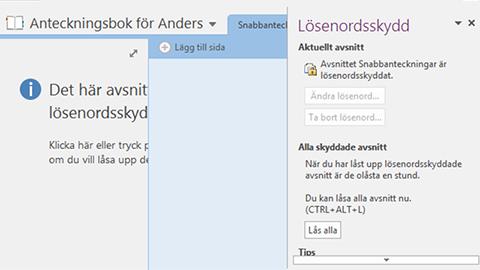 Lösenordsskydda Onenote